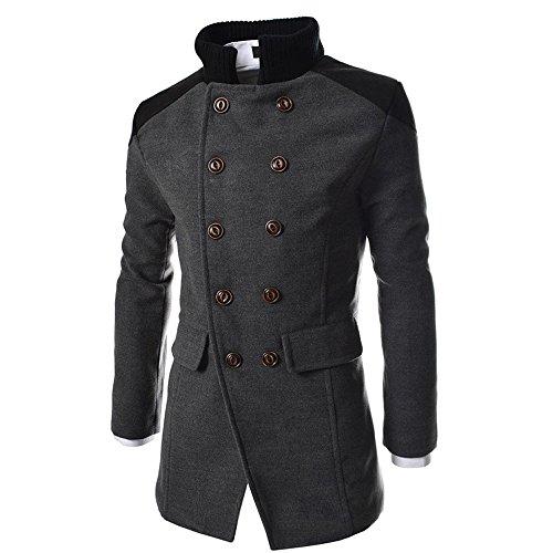 iYmitz Herren Mantel Jacke Warm Winter Trench Long Oberbekleidung Knopf Doppelreiher(Grau,EU-50/CN-XL)