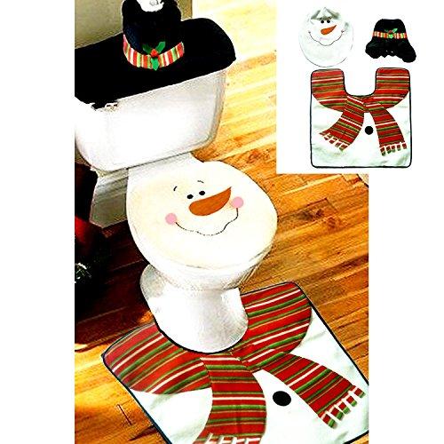 Exklusiver Santa Anzug Set für WC–aus hochwertigem Stoff–Liebenswürdig, Weihnachten Dekoration–perfekte Weihnachten Geschenk–3Muster für Auswahl multi