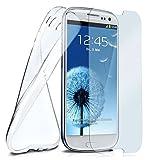 moex Silikon-Hülle für Samsung Galaxy S3 | + Panzerglas Set [360 Grad] Glas Schutz-Folie mit Back-Cover Transparent Handy-Hülle Samsung Galaxy S3 / S III Neo Case Slim Schutzhülle Panzerfolie
