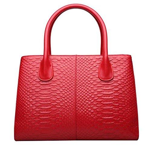 Serpentin Modetasche Leder-Umhängetasche Frauen Handtasche Redwine