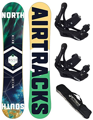 AIRTRACKS SNOWBOARD SET / NORTH SOUTH SNOWBOARD FLAT ROCKER + SOFTBINDUNG SAVAGE + SB BAG / 152 156 159 163 / cm
