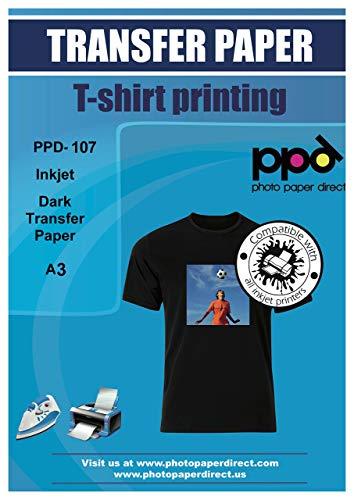 Ppd inkjet t-shirt transfer Paper A3per tessuti scuri e nero x 25fogli ppd-107-25