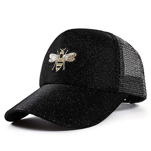 Shining-hat Baseball Caps für Herren,Baseball Caps für Damen,Hut der Frauen,Fluoreszierende Biene-Baseballmütze aus Pailletten Hip-Hop-Farbverlauf mit Netzkappe Outdoor-Mesh-Sonnenschirmhut, schwarz