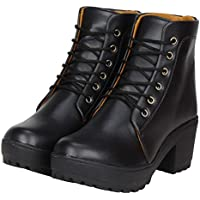 Toshina shoes King Women's Black Synthetic Ankle Length Boots- 38-Euro