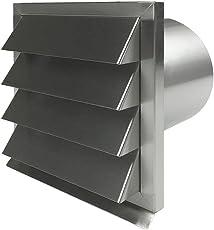 EASYTEC Außenjalousie Ø 100 mm Edelstahl gebürstet mit Rückstauklappe aus Metall - Mauerkasten Abluftjalousie Lüftungsgitter Abluftgitter (100 mm)