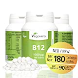 Vitamin B12 Methylcobalamin | 6 Month Supply, 180 Tablets | 1000 mcg per Tablet, Highly Dosed | with Added B6 + Folic Acid | Small, Easy To Swallow Tablets | Vegan & Vegetarian by Vegavero