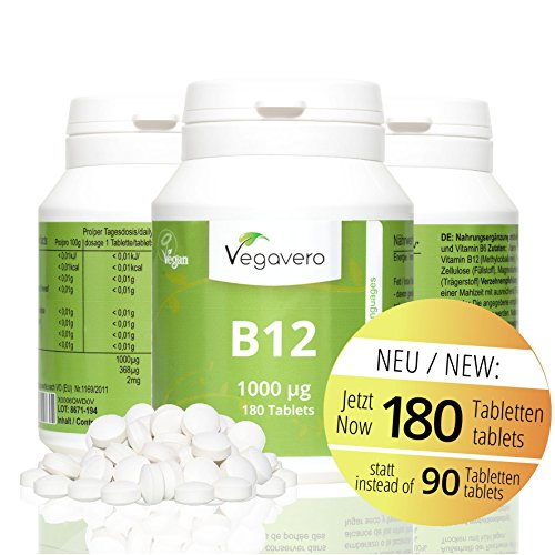 Folsäure B6 Vitamine (Vitamin B12 1.000 µg, B6 + Folsäure | 180 Tabletten | Sinnvolle B-Vitamin Kombination | Hochdosiert | Methylcobalamin | Vegan ohne künstliche Aromen und Gelatine | Vegavero: from Nature - with Passion - for You!)