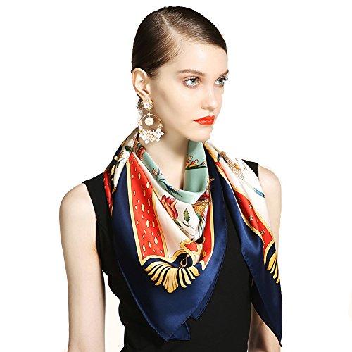 Premium-weiche multicolor schiere unendlichkeit schal,Poncho Wrap Schal Seide Bandana Seide Geschenk-A 106x106cm(42x42inch) -