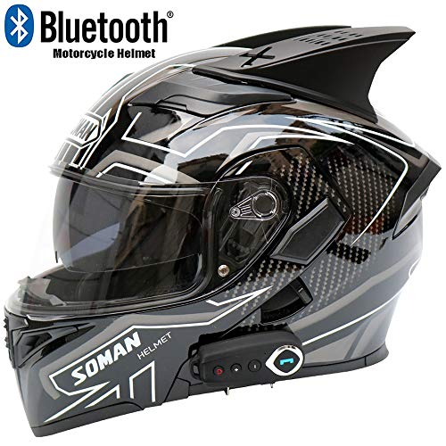 The Second Generation of New Motorcycle Bluetooth Helmet, Four Seasons Double Lens Multi-Function Full Face Helmet, with FM and Voice Navigation, DOT Certification,L59~60cm