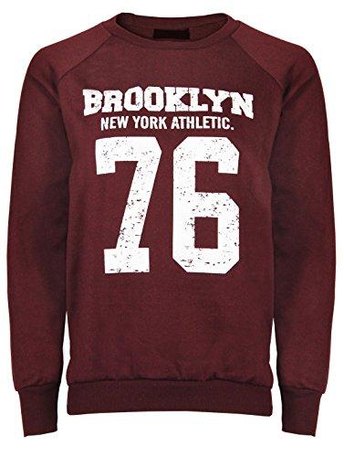 Cexi Couture - Sweatshirt pour femme manches longue chaud imprimé Brooklyn Bordeaux