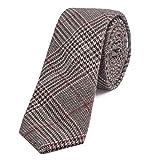 DonDon Herren Krawatte 6 cm Baumwolle dunkelrot-schwarz-braun kariert