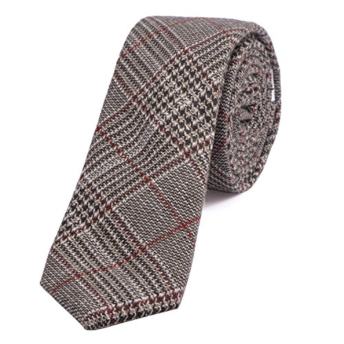 DonDon Herren Krawatte 6 cm Baumwolle dunkelrot-schwarz-braun kariert -