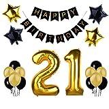 21.o kit de decoraciones de la fiesta de cumpleaños, Bandera del Feliz Cumpleaños, 21.ª Globos de Número de Oro, Globos de estrellas de látex, Perfectas Decoraciones de Cumpleaños de 21 Años de Edad