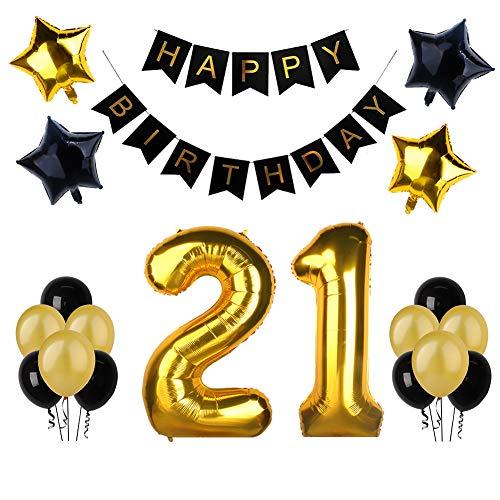 """(21. Geburtstag Party Dekoration, Happy Birthday Banner, """"21"""" Golden Ballon, Latex- und Sternfolie-Ballon, Perfekt für die Vorbereitung der 21. Geburtstagparty)"""