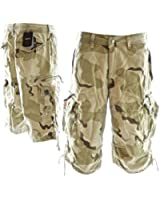Mens Knee Hugger Cargo Shorts 45056 - 100% Cotton Premium Quality Combat Shorts