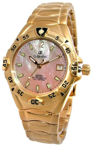 Oskar Emil Aspen Mens 23ct Gold Plated 12 Jewel Automatic Watch with Mother of Pearl Dial