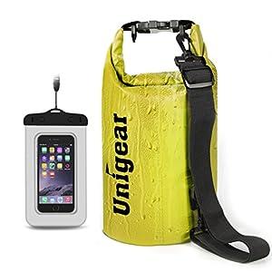 Sacco Dry Bag Borse Impermeabile, Dry Bag Galleggiante può Essere Usato per la Navigazione, Trekking, Kayak, Canoa, Pesca, Rafting, Nuoto, Campeggio, Sci e Snowboard con Omaggio Gratuito di Una Custodia Telefono Impermeabile Universale (Giallo, 40L)