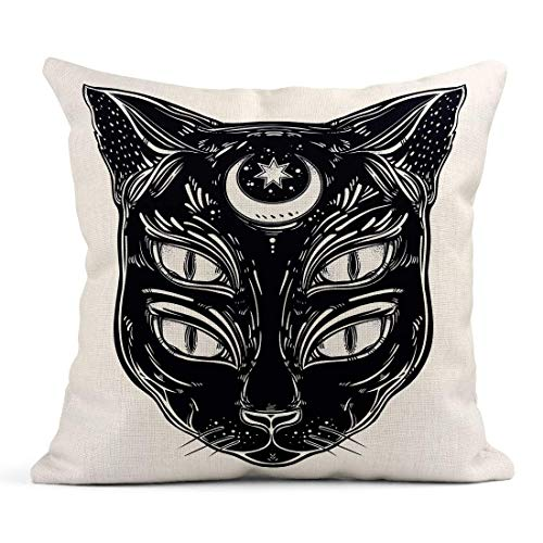 WBinHua Zierkissenbezüge, Throw Pillow Covers, Decor Flax Case Black Cat Head Portrait with Moon and Four Eyes Eyed is Ideal Halloween Tattoo 18