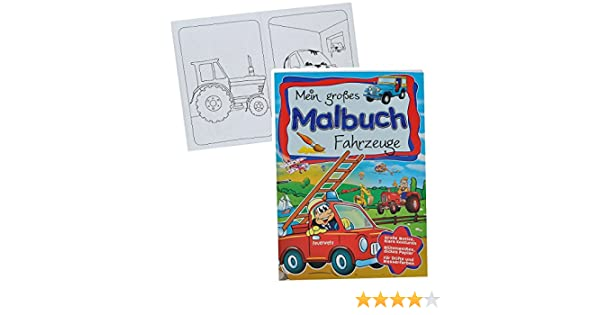 großes Malbuch A4 - Fahrzeuge - Feuerwehr / Traktor / Auto / Bagger ...