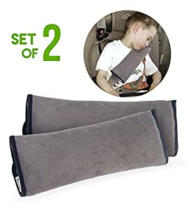 Set of 2 Seatbelt Cover Pillows | Head Support Pillow for Car Travel | Seat Belt Covers for Adults & Kids | Machine Washable Car Seat Belt Covers | Durable Plush Seatbelt Cushion by Boxiki Travel