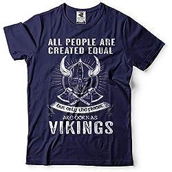 Silk Road Tees Nacido como Vikingo Camiseta de los Hombres de Viking Valknut Thor Hammer Valhalla Camiseta 3X-Large Armada
