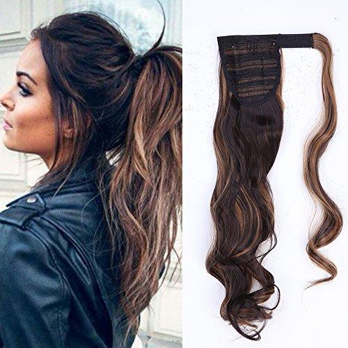 Ponytail Clip in Pferdeschwanz Extension Haarteil Haarverlängerung Zopf Hair Piece gewellt Wavy wie Echthaar Dunkelbraun & Sandy Blonde Wavy-17