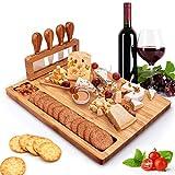 Set di tagliere per formaggi in bambù, piatto da portata, piatto da portata e tagliere per carne, regalo unico per Natale, matrimonio, compleanno, anniversario