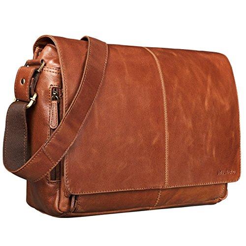 Stilord 'alex' borsa da studente in pelle per l'università ufficio lavoro grande borsa a tracolla in stile vintage messenger cartella in cuoio, colore:cognac lucente