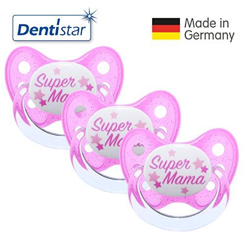 Preisvergleich Produktbild Dentistar® Schnuller 3er Set- Nuckel Silikon in Größe 2, 6-14 Monate - zahnfreundlich & kiefergerecht - Beruhigungssauger für Babys - Pink Super Mama