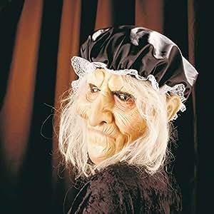 Masque de grand-mère avec cheveux costume de vieille femme Visage en latex de vieille femme mamie accoutrement de carnaval déguisement Halloween ancêtre