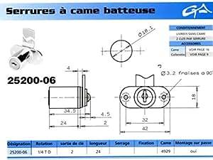 Ronis 25200-06 Serrure 1/4T droite sans came 4 mm