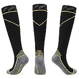 Noobrande Kompressionsstrümpfe DREI Paare atmungsaktive schweißabsorbierende Wadenstrümpfe mit Fußball-Fitness-Socken und gleichmäßigen Fingersocken (Farbe : Gelb, Größe : L/XL)