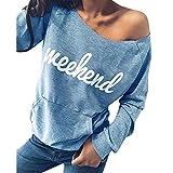 OSYARD Damen Sweatshirt,Oberseiten,Pullover, Frauen Pulli Kleidung Brief Drucken Trägerlosen T-Shirt Tops Bluse mit Tasche Langarm Tunika Hemd Oberteile(L, Blau)