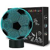 Kinder Nachtlicht Fußball 3D Optische Täuschung Lampe mit 7 Farben Ändern Fußball Geburtstag Weihnachtsidee für Sport Fan Jungen Mädchen