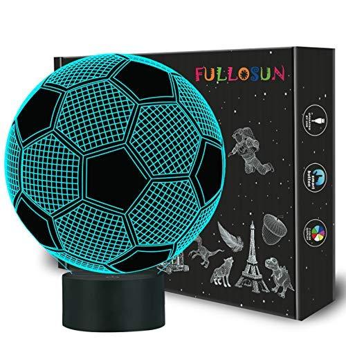 Kinder Nachtlicht Fußball 3D Optische Täuschung Lampe mit Fernbedienung 16 Farben Ändern Fußball Geburtstag Weihnachtsidee für Sport Fan Jungen Mädchen