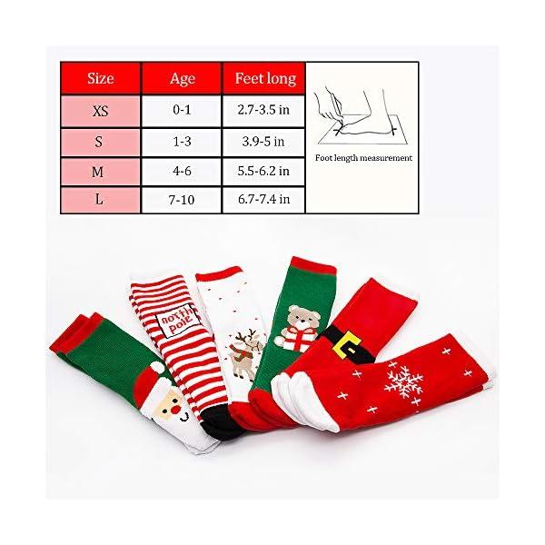 MMTX Navidad calcetín lindo de algodón Animal de dibujos animados reno de Santa Claus antideslizante Unisex 6 pares… 2