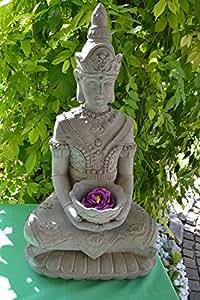 Figurine grand-yoga moine bouddha avec photophore knieend goldfarbende coupelle bougeoir kerzenstaender
