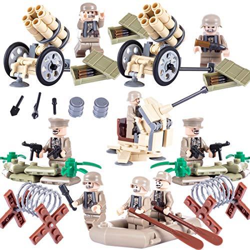NURICH 8St. Mini Figuren Soldaten + Custom Waffen Set für Mini Figuren SWAT Team Polizei, passen zum Lego