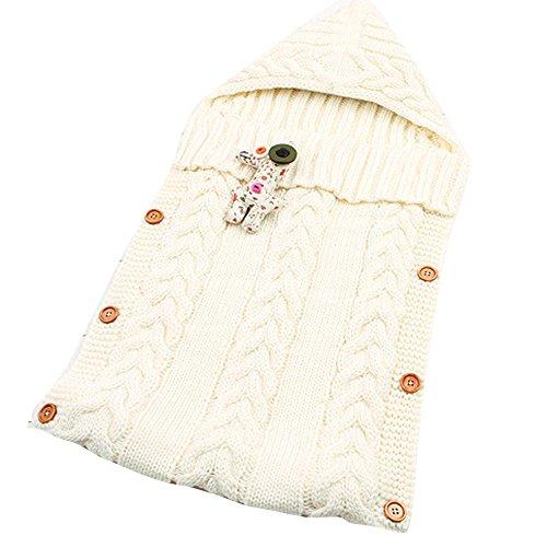 Schlafsack Baby Winter Stricken Babyschlafsack mit Knopf Wickeln Swaddle Decke Reine Farbe Kinderwagen Wrap XXYsm Weiß