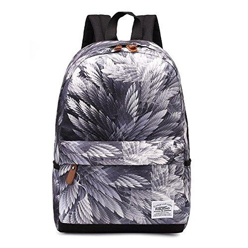 Schulrucksack,Charminer Fashion Teenager-Mädchen-Jungen Canvas Rucksack Daypack Reisetasche Kinderrucksäcke mit Blume für Outdoor Sport Freizeit Reisen Weiß