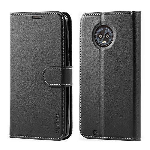 Mulbess Motorola Moto G6 Hülle, Premium Handy Schutzhülle Ledertasche im Kartenfach für Motorola Moto G6 Tasche Hülle Leder Etui Schale,Schwarz (Business Style)
