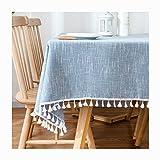 KSWD Volltonfarbe Tischdecke, Baumwolle Leinen Quaste Tischtuch Tischwäsche Verdicken Antifouling Staubdicht,C,140x200cm