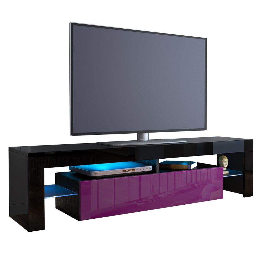 Meuble Tv Bas Lima V2 Corps En Noir Fa Ades En Noir Haute  # Meuble Tv Noire