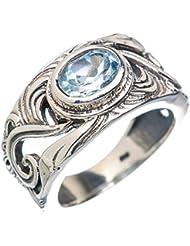 Blue Topaz, Topacio Azul 925 Plata de Ley Ring 8.25