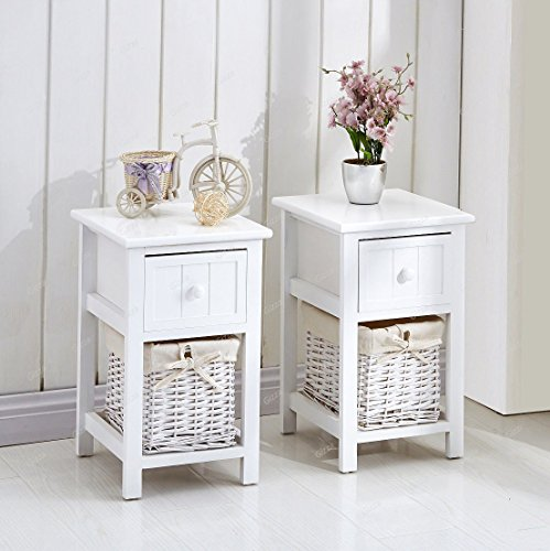 2 White Bedside Tables With Wicker Storage Basket Table