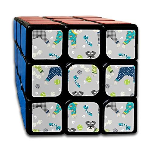 Schnauzers In Jammies Fabric Cute Dogs In Pajamas Pyjamas Fabric - Grey and Blue_139 3x3 Magic Speed Cube Smooth Speed Magic Rubik Cube Puzzles Toys Star Chocolate Mold