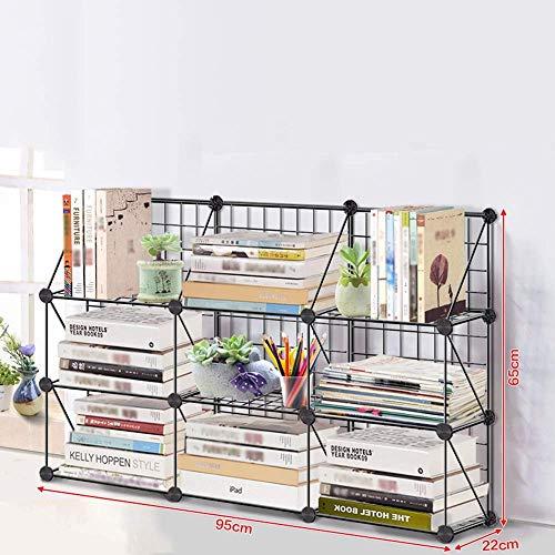JHUEN Büro Desktop Kreative Schmiedeeisen Montage Lagerregal Finishing Regal Wirtschaft Studie Magazin Lagerregale A ++ (Größe: 3-3) (Magazin Wirtschaft)