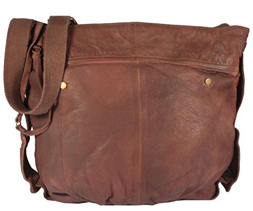 Sannita - Umhängetasche Vintage Leder Used-Look MEDITERRAN URBAN BAG Damen Schultertaschen Handtaschen 35x39x10 cm (B x H x T), Farbe:braun braun