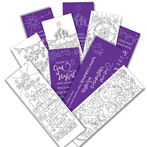 Just Cards Direct - Segnalibri da colorare, motivo natalizio, confezione da 10 (5 x 2), con dedica Bibbia sul retro