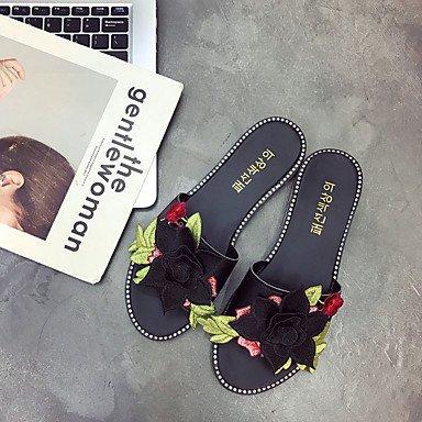 zhENfu Donna pantofole & flip-flops Comfort suole di luce PU abiti estivi Comfort suole di luce fiore tacco piatto verde nero rubino Piatto bianco Black